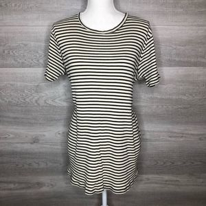 Brandy Melville Top One Size Black & Cream Ribbed